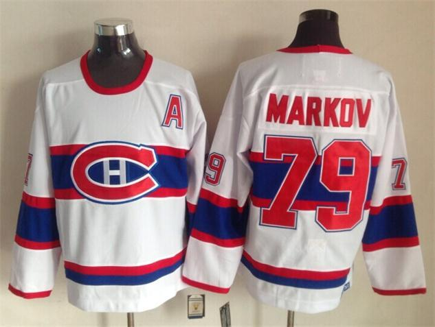 NHL Montreal Canadiens 79 markov white 2015 Throwback Jerseys