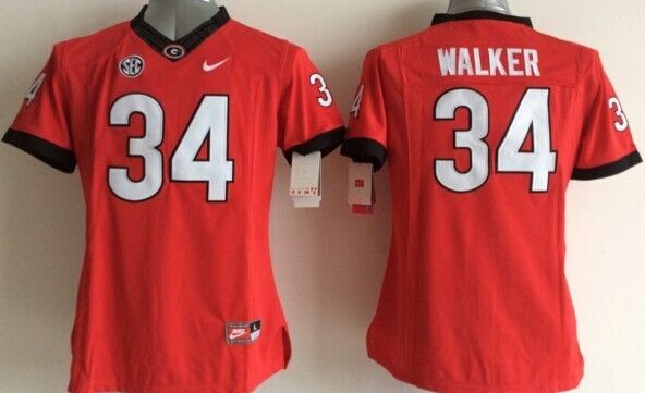 Womens NCAA Georgia Bulldogs Todd 34 Walker Red 2015 Jerseys