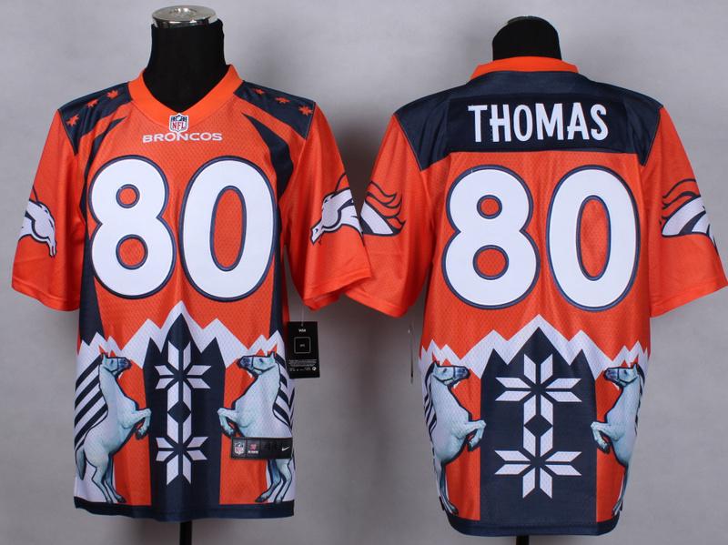 Denver Broncos 80 Thomas Orange 2015 New Style Noble Fashion Elite Jerseys