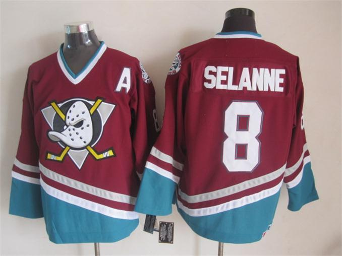 NHL Anaheim Ducks 8 Teemu Selanne red 2015 jerseys