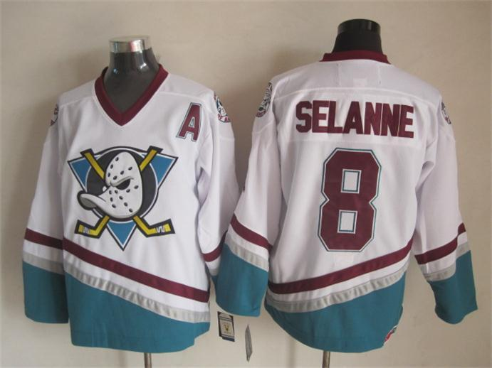 NHL Anaheim Ducks 8 Teemu Selanne White 2015 jerseys