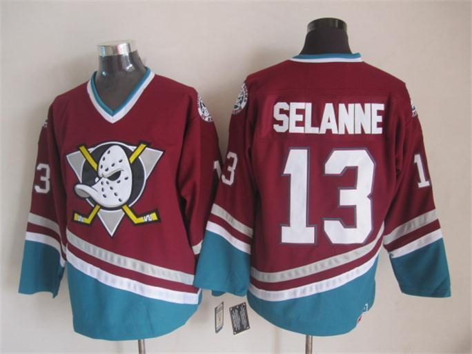NHL Anaheim Ducks 13 Selanne red 2015 jerseys