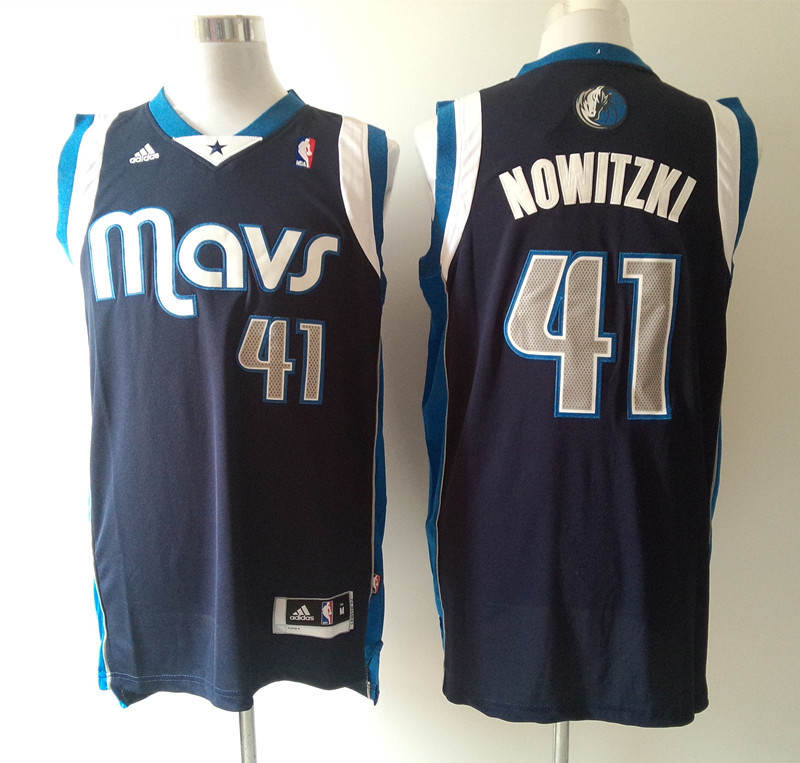 NBA Dallas Mavericks 41 Dirk Nowitzki Blue 2015 Jerseys