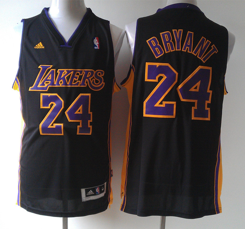 NBA Los Angeles Lakers 24 Kobe Bryant Black Fashion Swingman 2015 Jerseys
