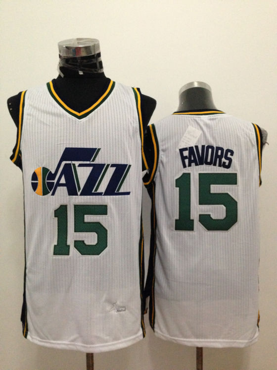 NBA Utah Jazz 15 Derrick Favor White 2015 Jerseys