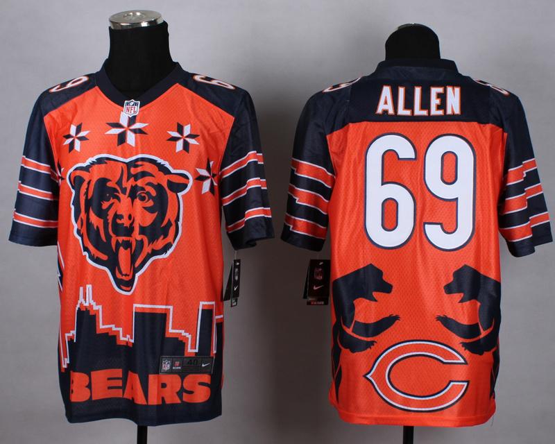 Chicago Bears 69 allen orange 2015 New Style Noble Fashion Elite Jerseys