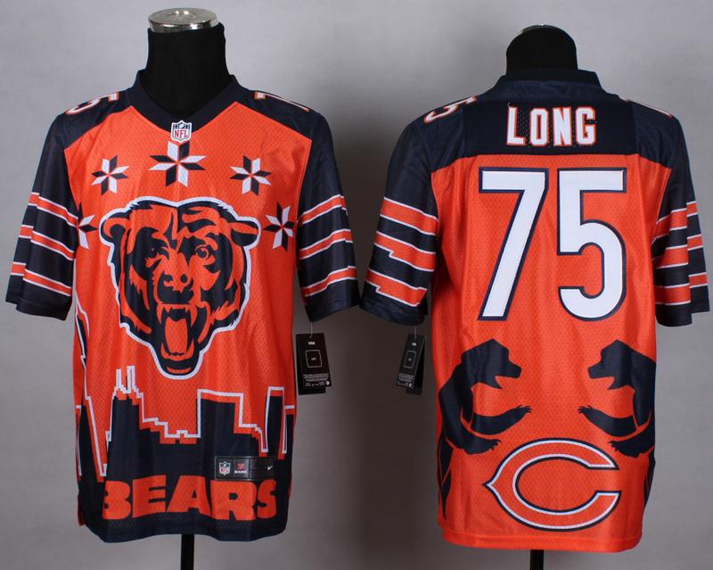 Chicago Bears 75 long orange 2015 New Style Noble Fashion Elite Jerseys