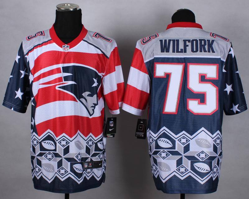 New England Patriots 75 wilfork blue 2015 New Style Noble Fashion Elite Jerseys