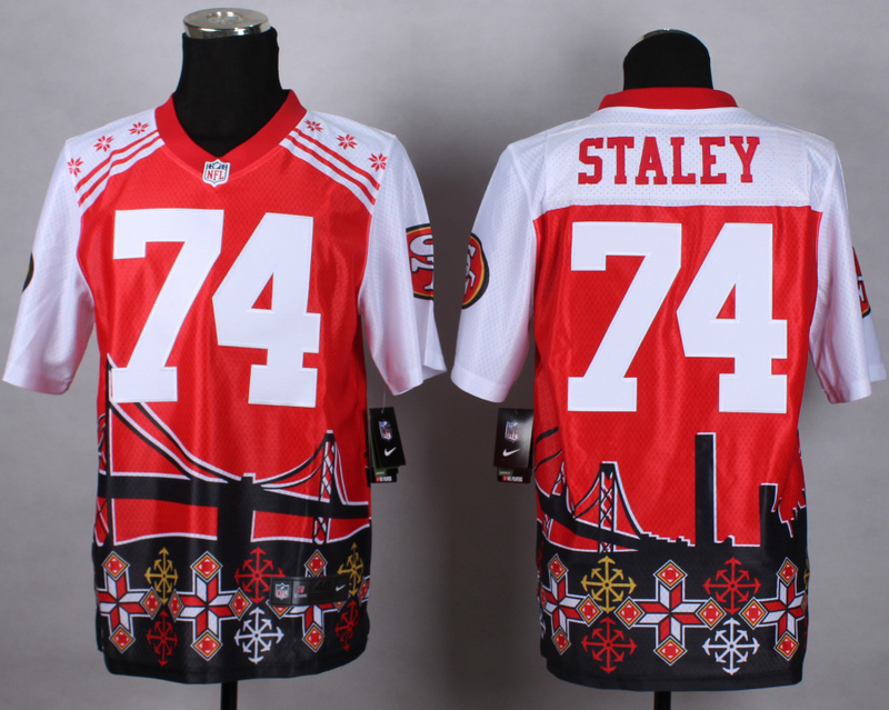 San Francisco 49ers 74 staley red 2015 New Style Noble Fashion Elite Jerseys