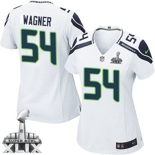 Nike Seahawks #54 Bobby Wagner White Super Bowl XLIX Women's Stitched NFL Elite Jersey