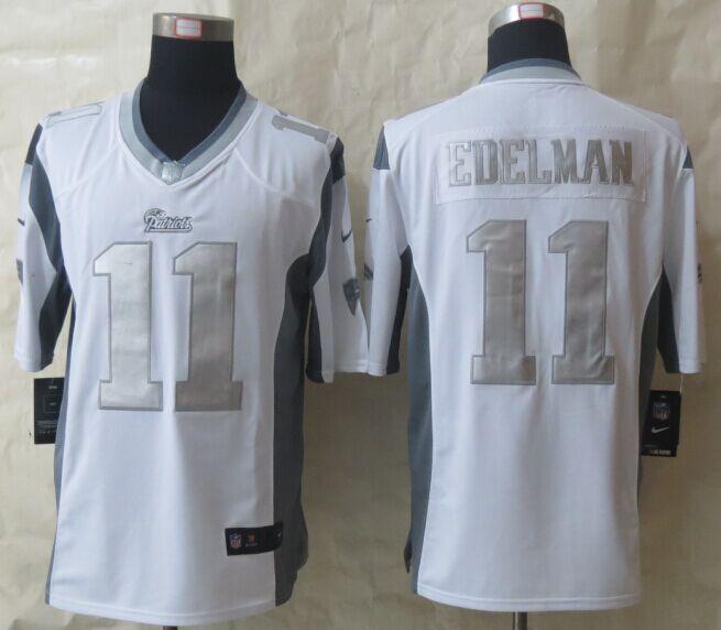 New England Patriots 11 Edelman Platinum White New Nike Limited Jerseys