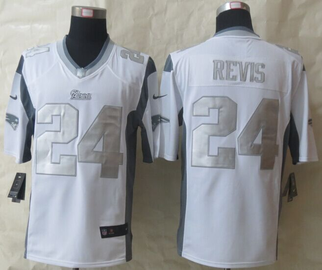 New England Patriots 24 Revis Platinum White New Nike Limited Jerseys