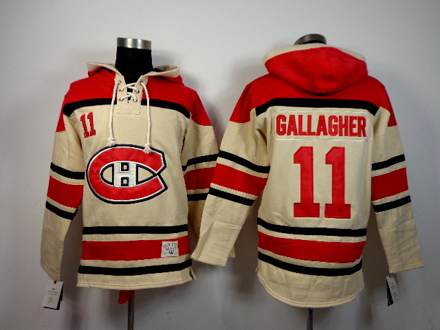 NHL Montreal Canadiens 11 Brendan Gallagher Gream Pullover Hooded Sweatshirt