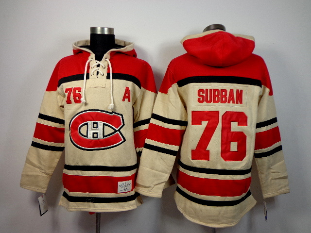 NHL Montreal Canadiens 76 P.K. Subban Gream Pullover Hooded Sweatshirt