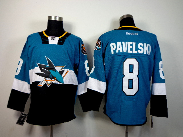 NHL San Jose Sharks 8 Joe Pavelski Blue Teal 2015 Stadium Series Jerseys