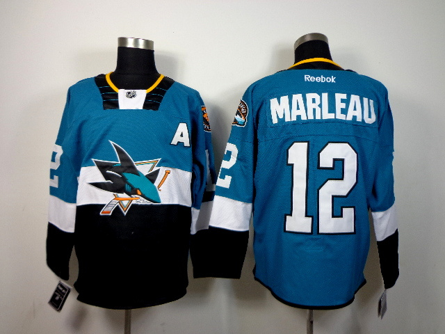 NHL San Jose Sharks 12 Patrick Marleau Blue Teal 2015 Stadium Series Jerseys