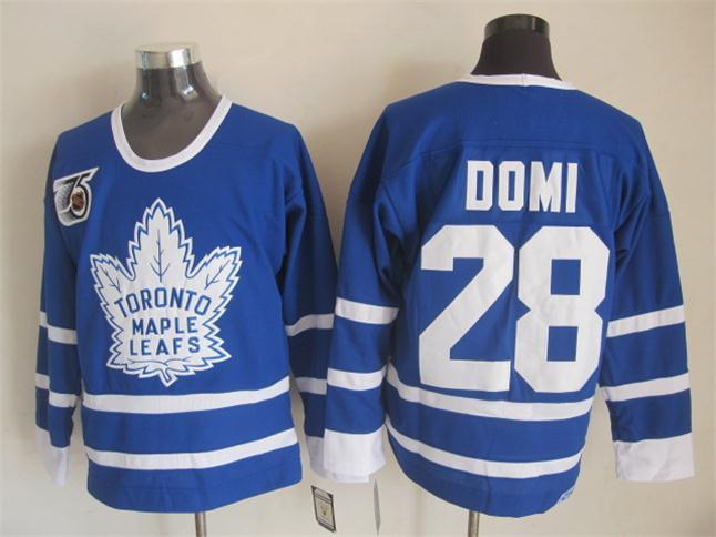 NHL Toronto Maple Leafs 28 Domi Blue The 75th anniversary of the Jerseys