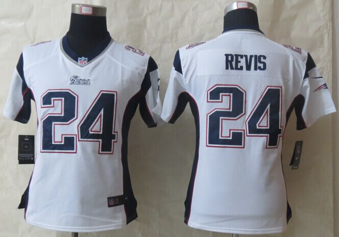 Womens New England Patriots 24 Revis White Nike Game Jerseys