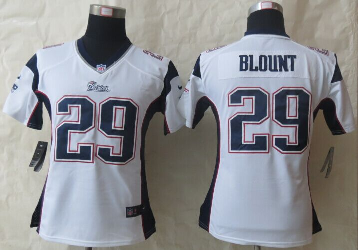 Womens New England Patriots 29 Blount White Nike Game Jerseys