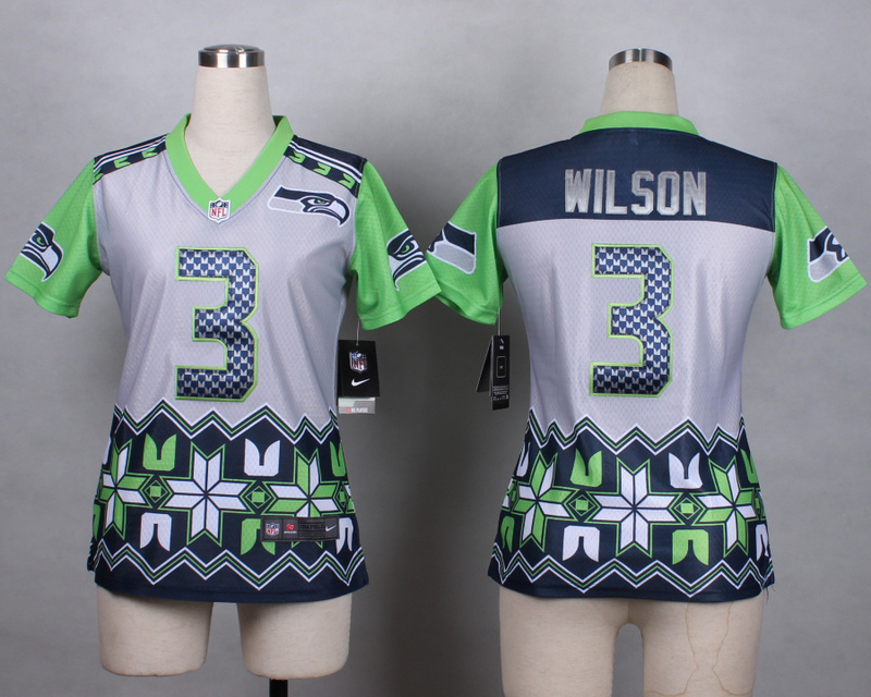 Womens Seattle Seahawks 3 Wilson grey 2015 New Style Noble Fashion Elite Jerseys