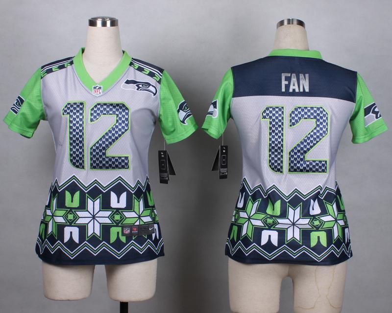 Womens Seattle Seahawks 12 fan grey 2015 New Style Noble Fashion Elite Jerseys