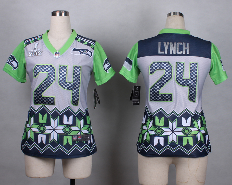 Womens Seattle Seahawks 24 lynch grey 2015 New Style Noble Fashion Elite Jerseys