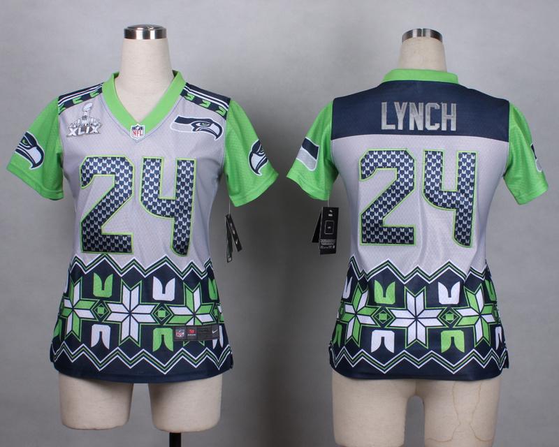 Womens Seattle Seahawks 24 lynch grey 2015 New Style Noble Fashion Elite Jerseys