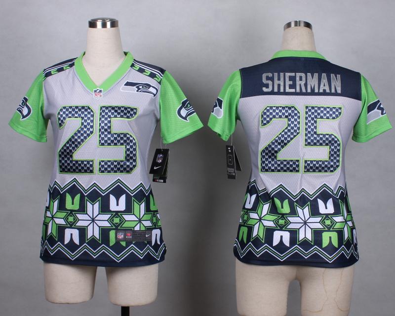 Womens Seattle Seahawks 25 Sherman grey 2015 New Style Noble Fashion Elite Jerseys