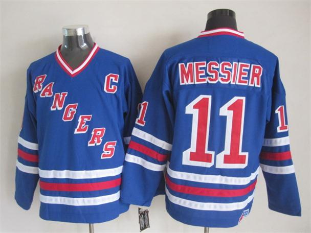 NHL New York Rangers 11 Messier Blue New Throwback Jerseys
