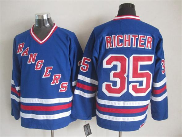 NHL New York Rangers 35 Richter Blue New Throwback Jerseys