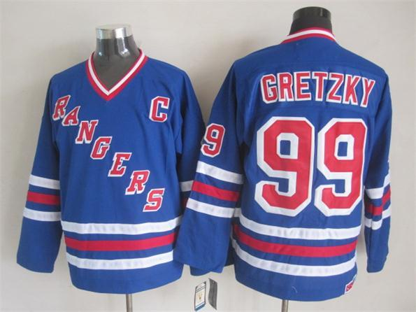 NHL New York Rangers 99 Gretzky Blue New Throwback Jerseys