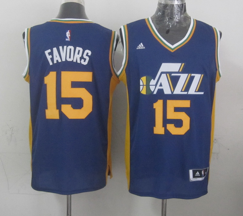 NBA Utah Jazz 15 favors blue 2015 Jerseys