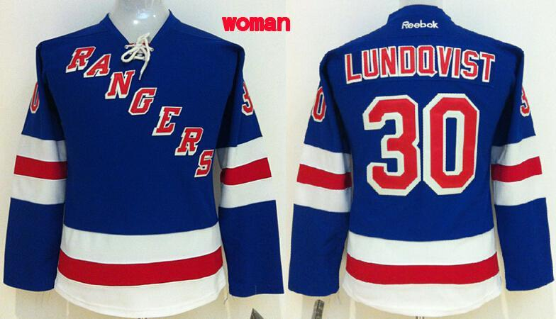 Womens NHL New York Rangers 30 lundqvist blue 2015 Jerseys