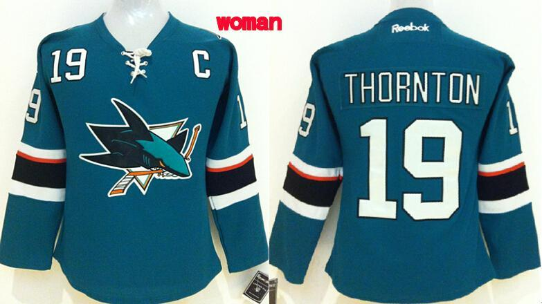 Womens NHL San Jose Sharks 19 thornton blue 2015 Jerseys