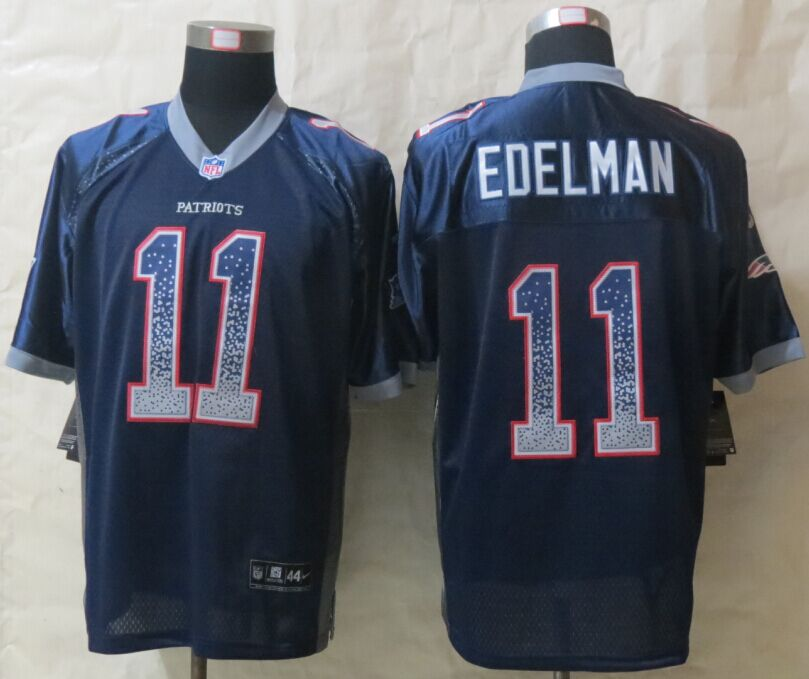 New England Patriots 11 Edelman Drift Fashion Blue New Nike Elite Jerseys