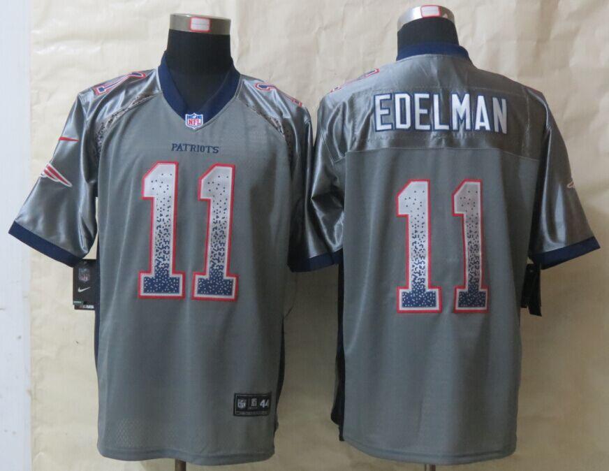 New England Patriots 11 Edelman Drift Fashion Grey New Nike Elite Jerseys