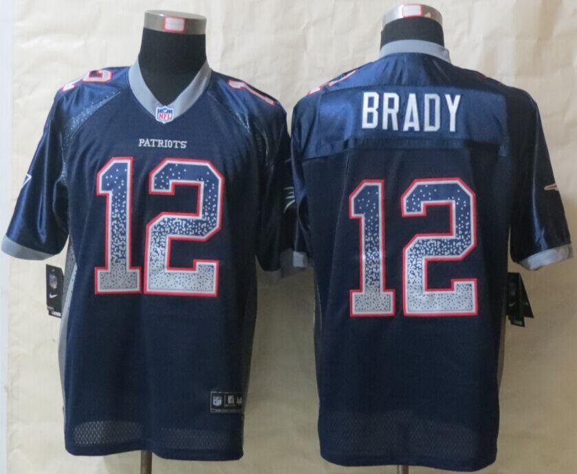 New England Patriots 12 Brady Drift Fashion Blue New Nike Elite Jerseys