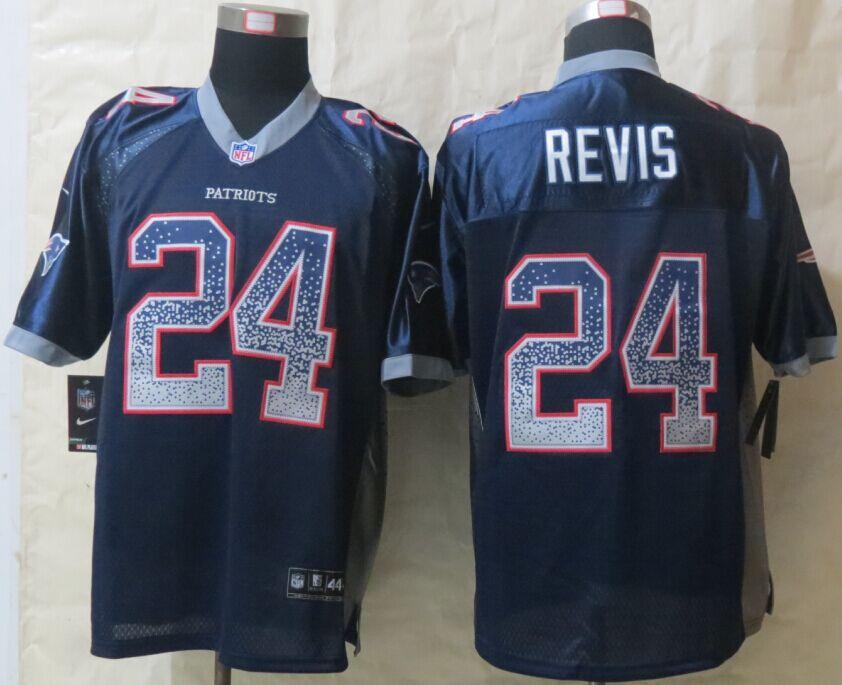 New England Patriots 24 Revis Drift Fashion Blue New Nike Elite Jerseys