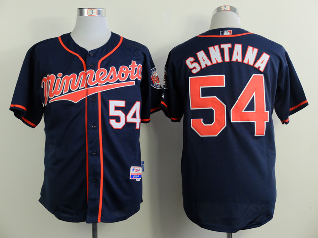 MLB Minesota Twins 54 santana blue 2015 Jerseys
