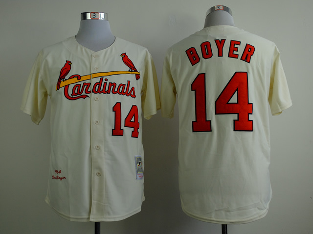 MLB St. Louis Cardinals 14 boyer beige Throwback Jerseys