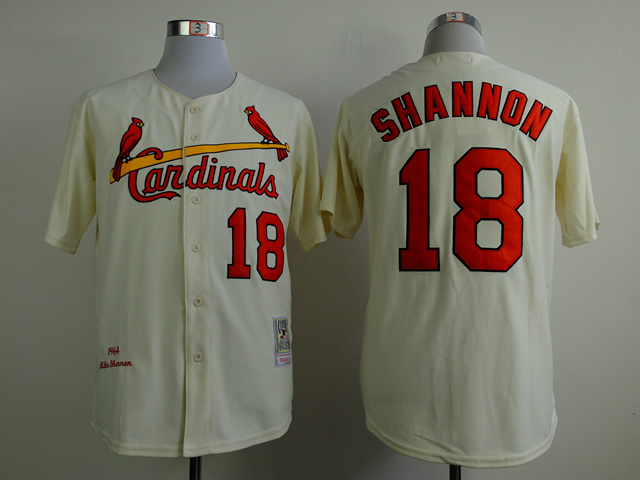 MLB St. Louis Cardinals 18 shannon beige Throwback Jerseys