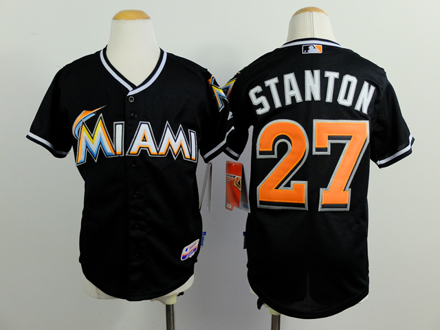Youth MLB Florida Marlins 27 stanton black 2015 Jerseys
