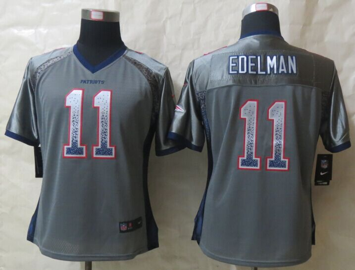 Womens New England Patriots 11 Edelman Drift Fashion Grey New Nike Elite Jerseys