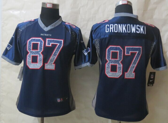 Womens New England Patriots 87 Gronkowski Drift Fashion Blue New Nike Elite Jerseys