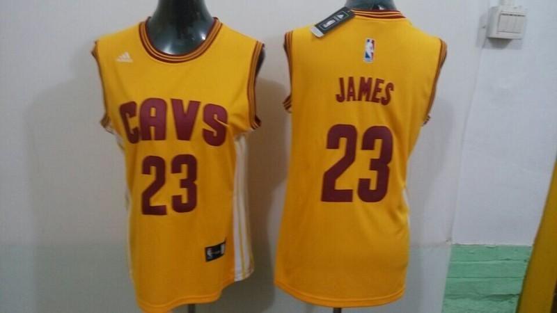 Womens NBA Cleveland Cavaliers 23 James yellow 2015 NBA New Jerseys