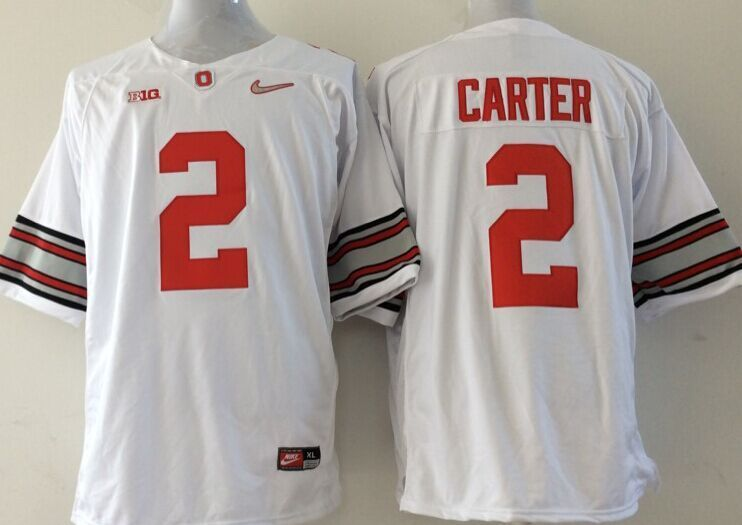 NCAA Ohio State Buckeyes 2 carter white Jerseys