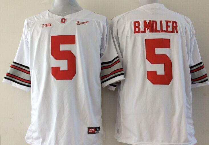 NCAA Ohio State Buckeyes 5 B.Miller white Jerseys