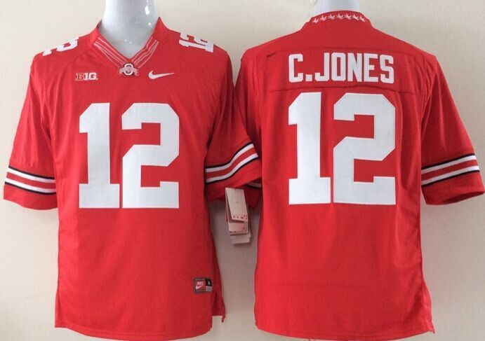 NCAA Ohio State Buckeyes 12 C.jones red Limited Jerseys