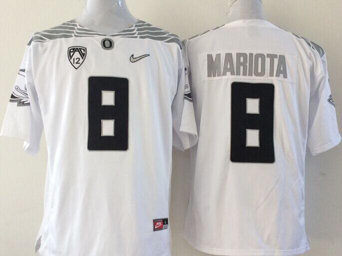 NCAA Oregon Ducks 8 mariota white Jerseys