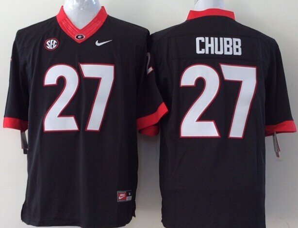 Youth NCAA Georgia Bulldogs 27 chubb black Jerseys